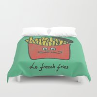 french fries Duvet Covers featuring French Fries by Picomodi