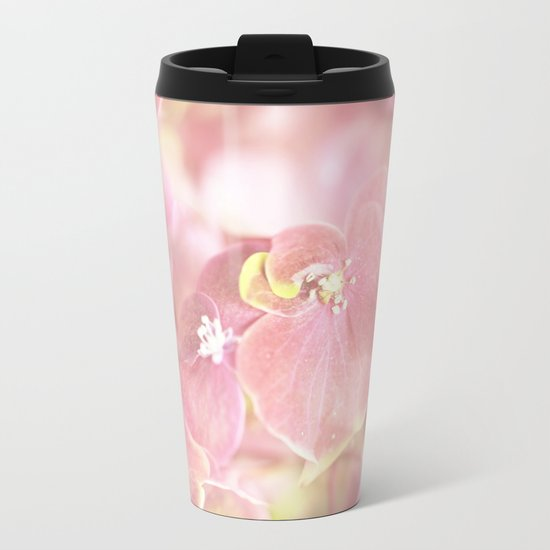 Some Soft Pink Flowers Metal Travel Mug