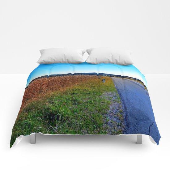 Poppy field road Comforters