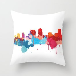 Seattle Cityscape Watercolor Throw Pillow
