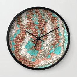Red & Mint Zentangle Wall Clock