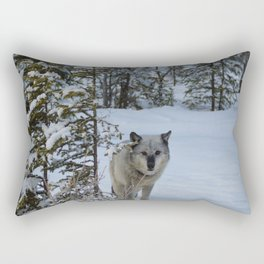 Lone wolf in the snow Rectangular Pillow