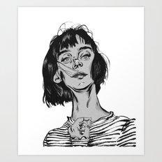 Woman in stripped shirt Art Print