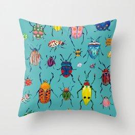 Bright Beetles Throw Pillow