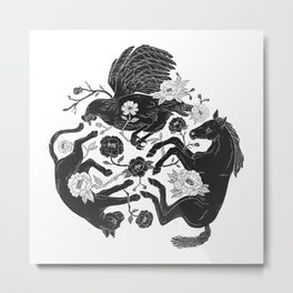 Horse, Cat and Chicken Metal Print
