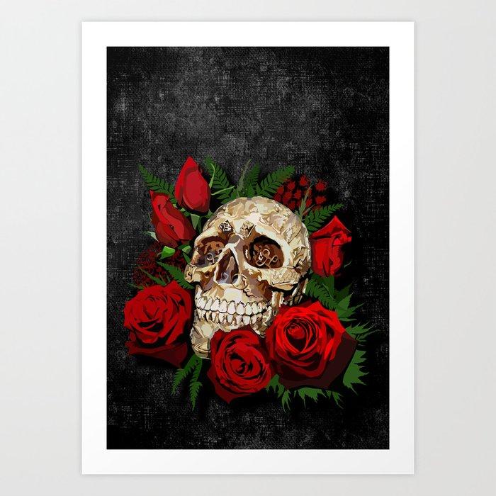 SkullsRed Roses Print