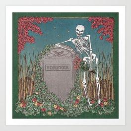 Skeleton Leaning on Grave Art Print