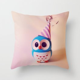 Owly BDay Party Throw Pillow