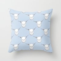 drum Throw Pillows featuring Drum  by Little Owl Oddities