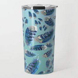 """Blue feathers flying in the air"" Travel Mug"