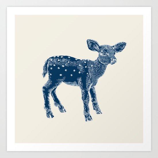 Dear Deer, Indigo on Vanilla Art Print