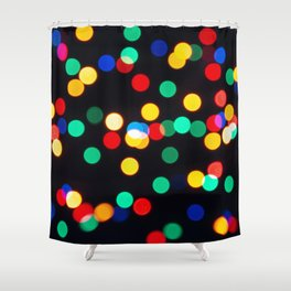 Bokeh Lights On a Black Background Shower Curtain