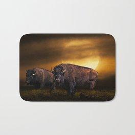 American Buffalo Bison under a Super Moon Rise Bath Mat