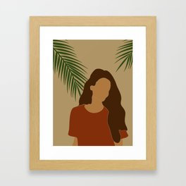 Tropical Reverie - Modern Minimal Illustration 07 - Girl with palm leaf - Tropical Aesthetic - Brown Framed Art Print