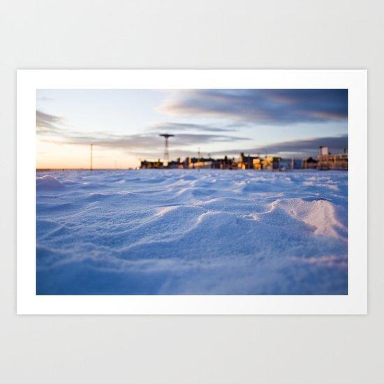 Snowy Coney Island Art Print