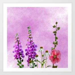 Summer wildflowers on pink Art Print