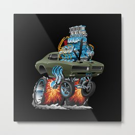 Classic American Muscle Car Hot Rod Cartoon Vector Illustration Metal Print