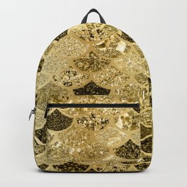 Glitter Gold Mermaid Scales Pattern Backpack