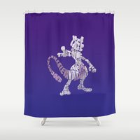 mew Shower Curtains featuring Mewtwo by pokegirl93