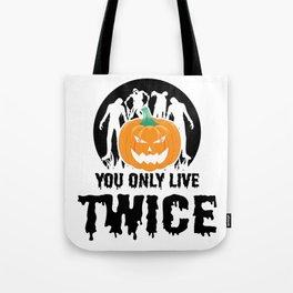 Jackolantern Scary Ghost Zombie Pumpkin Halloween Light Tote Bag