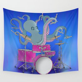 Octopus Playing Drums - Blue Wall Tapestry