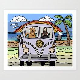 Golden Retriever Beach Art Print