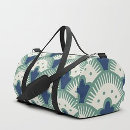 Fan Pattern Blue/Green Duffle Bag