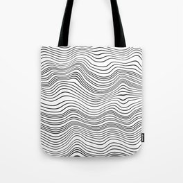 Black and White Waves Tote Bag
