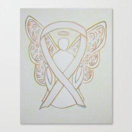 White Awareness Ribbon Angel Art Painting Canvas Print