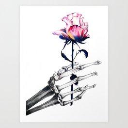 Skeletal Hand with Rose Art Print