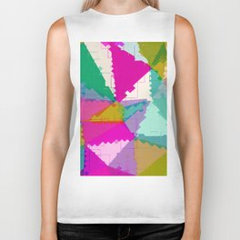 geometric square pixel and triangle pattern abstract in pink green blue Biker Tank
