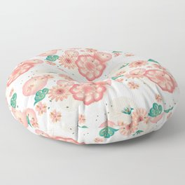 Elegant Floral Ornament, Spring Peach Garden, Decorative Pink Flowers, blossom sakuras BOHO pattern Floor Pillow
