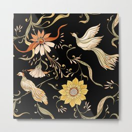 Vintage flowers and birds hand drawn illustration pattern. In art nouveau style. Old retro style on dark background. Metal Print