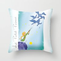 le petit prince Throw Pillows featuring Le Petit Prince by karicola