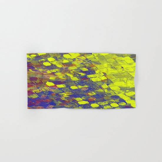 Take The First Step - Abstract, blue and yellow pattern Hand & Bath Towel