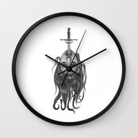 sword Wall Clocks featuring Sword Swallower by savage_amused