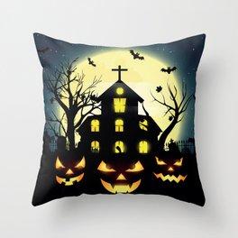 Halloween spooky house Throw Pillow