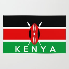 Kenya country flag name text Rug