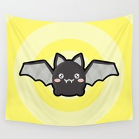 kawaii Wall Tapestries featuring Kawaii Bat by Nir P