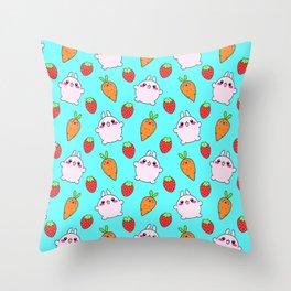 Cute funny Kawaii pink little baby bunnies, happy orange carrots and ripe juicy summer strawberries adorablelight pastel blue fruity pattern design. Nursery decor ideas. Throw Pillow