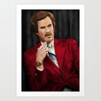 anchorman Art Prints featuring Ron Burgundy - Anchorman by Mike Tiscareno