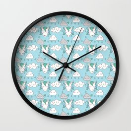 sleepy unicorns and clouds raining pattern Wall Clock