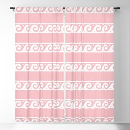 Pink and white Greek wave ornament pattern Blackout Curtain