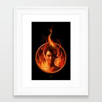 mockingjay Framed Art Prints featuring THE MOCKINGJAY by John Aslarona