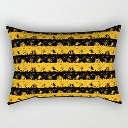 Pale Pumpkin Orange and Black Halloween Nightmare Stripes Rectangular Pillow