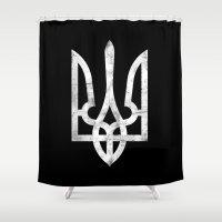 ukraine Shower Curtains featuring Ukraine Black Grunge by Sitchko Igor