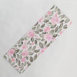 "Loose watercolor florals in pink and grey, ""Miriam"" Yoga Mat"