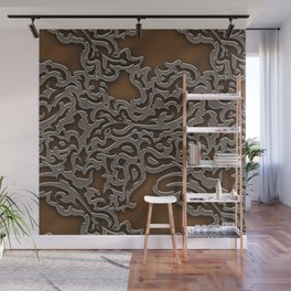 Floral embossing - copper Wall Mural