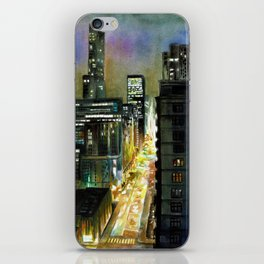 Chicago At Night Watercolor Painting iPhone Skin