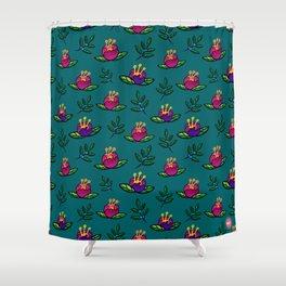 Round Flower Pattern Shower Curtain